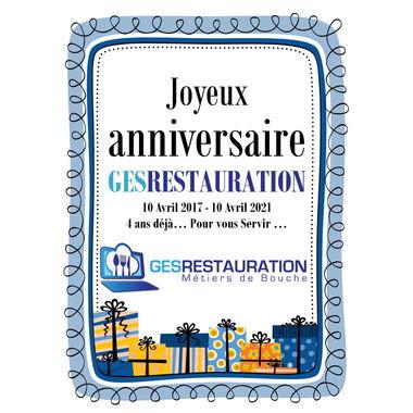 Joyeux anniversaire GesRestauration - 4 ans déjà...